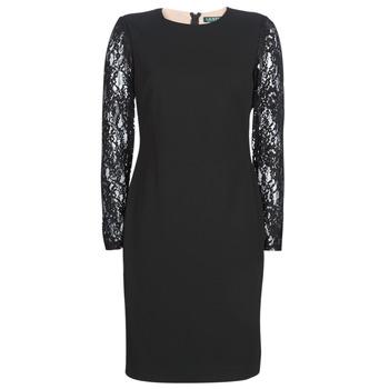Abbigliamento Donna Abiti corti Lauren Ralph Lauren LACE PANEL JERSEY DRESS Nero