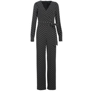 Abbigliamento Donna Tuta jumpsuit / Salopette Lauren Ralph Lauren POLKA DOT WIDE LEG JUMPSUIT Nero / Bianco