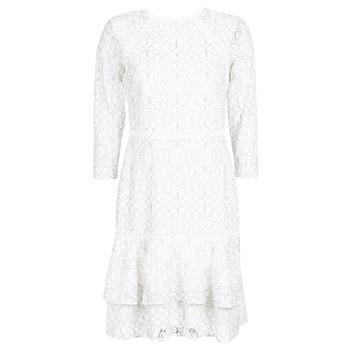 Vêtements Femme Robes courtes Lauren Ralph Lauren LONG SLEEVE-LACE DAY DRESS Blanc / Noir