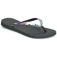 Schuhe Damen Zehensandalen Havaianas SLIM STRAPPED Schwarz