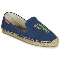 Schuhe Damen Leinen-Pantoletten mit gefloch Banana Moon OZZIE Blau