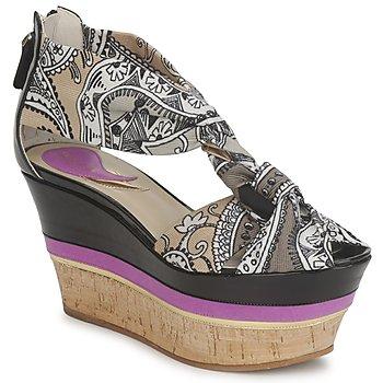 Schuhe Damen Sandalen / Sandaletten Etro 3467 Grau / Schwarz / Violett