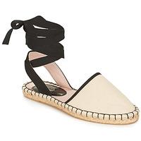 Schuhe Damen Leinen-Pantoletten mit gefloch André ROSA Beige