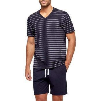 Vêtements Homme Pyjamas / Chemises de nuit Impetus Pyjama court rayé homme en coton organique Bleu