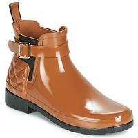 Schuhe Damen Gummistiefel Hunter REFINED GLOSS QUILT CHELSEA Camel