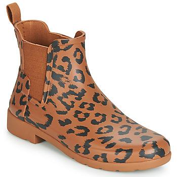 Chaussures Femme Bottes de pluie Hunter ORG REFINED CHELSEA HYBRD PRNT Léopard