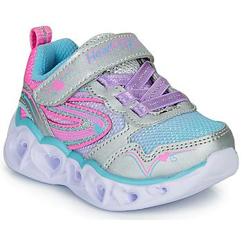 Scarpe Bambina Sneakers basse Skechers HEART LIGHTS Argento / Rosa