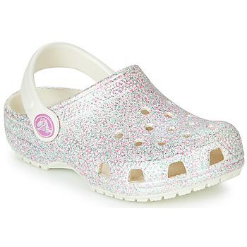 Schuhe Kinder Pantoletten / Clogs Crocs CLASSIC GLITTER CLOG K Weiß