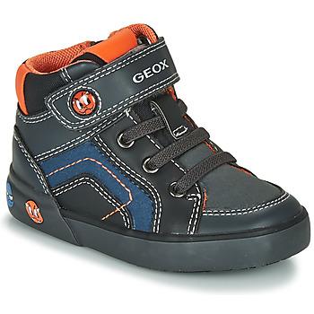 Scarpe Bambino Sneakers alte Geox B KILWI BOY Grigio / Nero