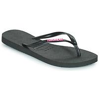 Schuhe Damen Zehensandalen Havaianas SLIM LOGO METALLIC Schwarz