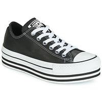Schuhe Damen Sneaker Low Converse CHUCK TAYLOR ALL STAR LAYER BOTTOM LEATHER OX Schwarz / Weiss / Schwarz