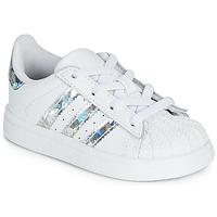 Chaussures Fille Baskets basses adidas Originals SUPERSTAR EL I Blanc / argenté