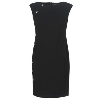 Vêtements Femme Robes courtes Lauren Ralph Lauren BUTTON-TRIM CREPE DRESS Noir