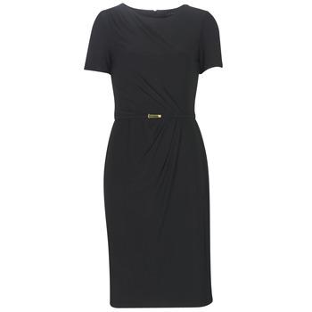 Vêtements Femme Robes longues Lauren Ralph Lauren BELTED SHORT SLEEVE DRESS Noir