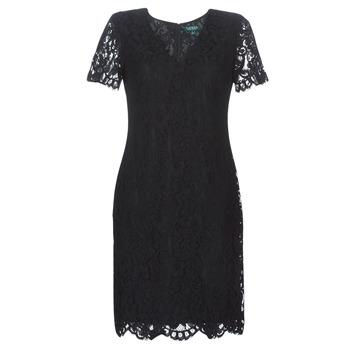 Vêtements Femme Robes courtes Lauren Ralph Lauren SCALLOPED LACE DRESS Noir