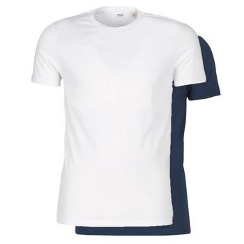 Kleidung Herren T-Shirts Levi's SLIM 2PK CREWNECK 1 Marineblau / Weiß