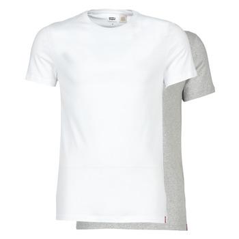Kleidung Herren T-Shirts Levi's SLIM 2PK CREWNECK 1 Weiß / Grau