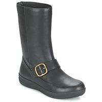 Schuhe Damen Boots FitFlop FF-LUX BIKER Schwarz