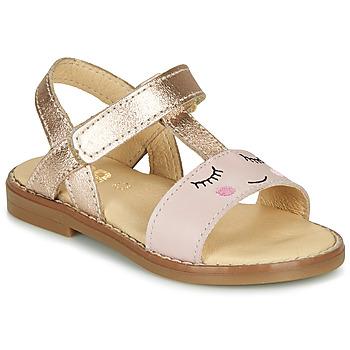 Schuhe Mädchen Sandalen / Sandaletten GBB NAZETTE VTE ROSE OR DPF/SOUPLE