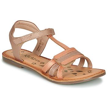 Chaussures Fille Sandales et Nu-pieds Kickers DIAMANTO ORANGE CLAIR ROSE