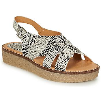 Chaussures Femme Sandales et Nu-pieds Kickers VICTORYNE Blanc / Noir / Python