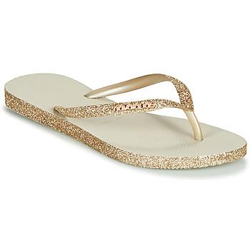 Chaussures Femme Tongs Havaianas SLIM SPARKLE BEIGE