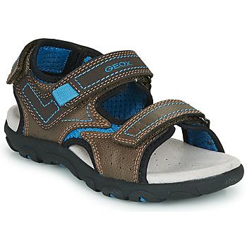 Chaussures Garçon Sandales sport Geox JR SANDAL STRADA BROWN/AVIO