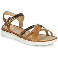 Chaussures Femme Sandales et Nu-pieds Geox D SANDAL HIVER DK GOLD/COGNAC