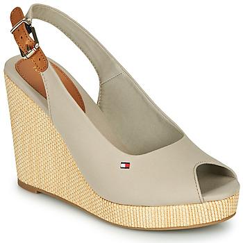 Schuhe Damen Sandalen / Sandaletten Tommy Hilfiger ICONIC ELENA SLING BACK WEDGE Grau