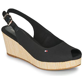Schuhe Damen Sandalen / Sandaletten Tommy Hilfiger ICONIC ELBA SLING BACK WEDGE Schwarz