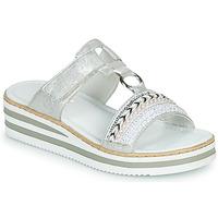 Schuhe Damen Pantoffel Rieker CLOZ Silbrig / Weiß