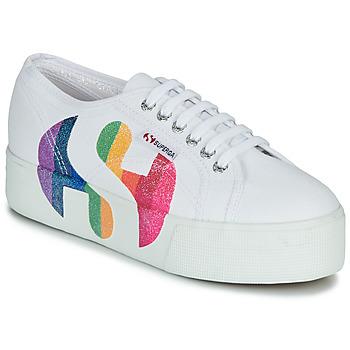 Schuhe Damen Sneaker Low Superga 2790-COTWPRINTEDLOGOGLITTER Weiß