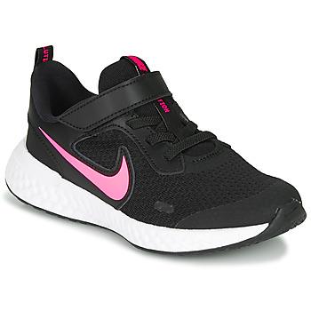 Chaussures Fille Baskets basses Nike REVOLUTION 5 PS Noir / Rose