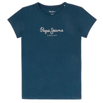 Vêtements Fille T-shirts manches courtes Pepe jeans HANA GLITTER Marine
