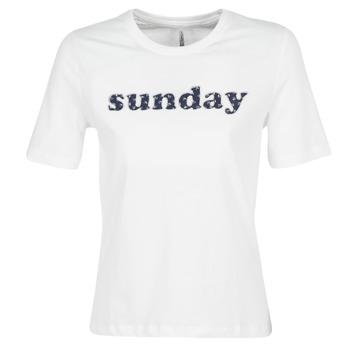 Vêtements Femme T-shirts manches courtes Only ONLSANNE Blanc