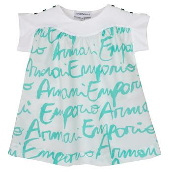 Vêtements Fille T-shirts manches courtes Emporio Armani Anas Blanc / Bleu