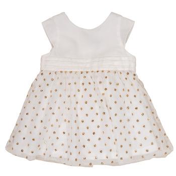 Kleidung Mädchen Kurze Kleider Petit Bateau FAVORITE Weiß / Gold