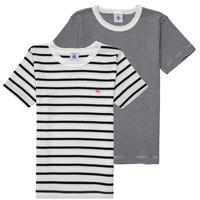 Kleidung Jungen T-Shirts Petit Bateau 53333 Weiß / Blau