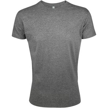 Vêtements Homme T-shirts manches courtes Sols Slim Fit Gris chiné