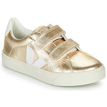 Schuhe Mädchen Sneaker Low Veja SMALL-ESPLAR-VELCRO Golden / Weiß