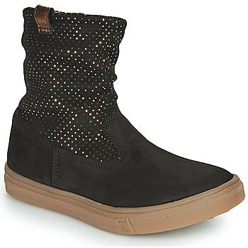 Chaussures Fille Bottes ville GBB KINGA NUS NOIR-POIS OR DPF/DOLBY