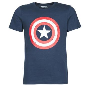 Kleidung Herren T-Shirts Yurban CAPTAIN AMERICA LOGO Marineblau