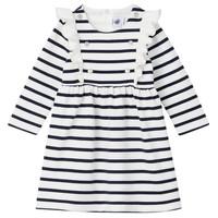 Kleidung Mädchen Kurze Kleider Petit Bateau LEVRIER Weiß / Marineblau