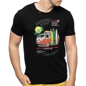 Vêtements Homme T-shirts manches courtes Shilton T-shirt col rond paradise SURF Noir