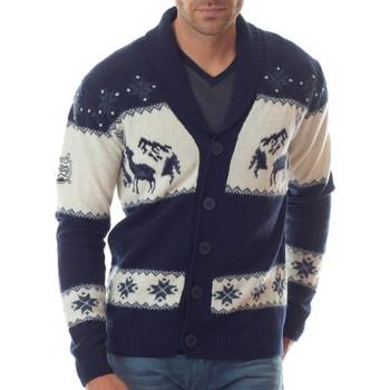 Vêtements Homme Gilets / Cardigans Shilton Cardigan montagne 100% laine Bleu marine