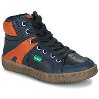 Chaussures Garçon Baskets montantes Kickers Lowell Marine/ Orange