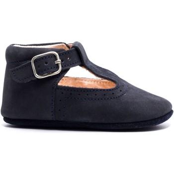 Chaussures Enfant Chaussons bébés Boni & Sidonie Chaussons en cuir souple - JOHAN Daim Bleu Marine
