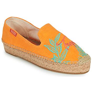 Schuhe Damen Leinen-Pantoletten mit gefloch Banana Moon VERAO Orange