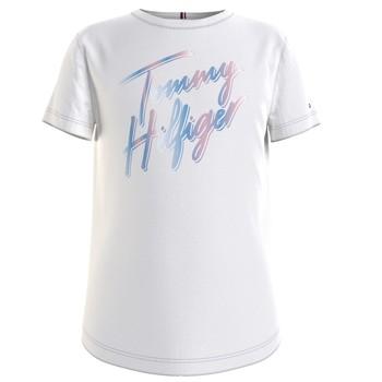 Kleidung Mädchen T-Shirts Tommy Hilfiger KG0KG05870-YBR Weiß