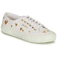 Schuhe Damen Sneaker Low Superga 2750 HEARTS EMBRODERY Weiß / Golden